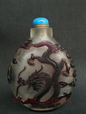 Collection China Old Glaze Hand Carving Dragon Phenix Snuff Bottle Decoration