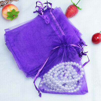 100pcs Luxury Organza Gift Bags Jewellery Pouch XMAS Wedding Party Candy Favour