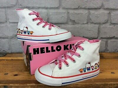 Converse Girls Uk 8 Eu 24 Ctas White Hello Kitty Hi Canvas Trainers Children
