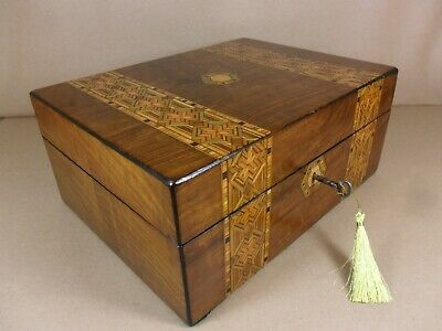 ANTIQUE VICTORIAN  PARQUETRY WALNUT JEWELLERY/SEWING  BOX.C1860-1880 (Code 515)