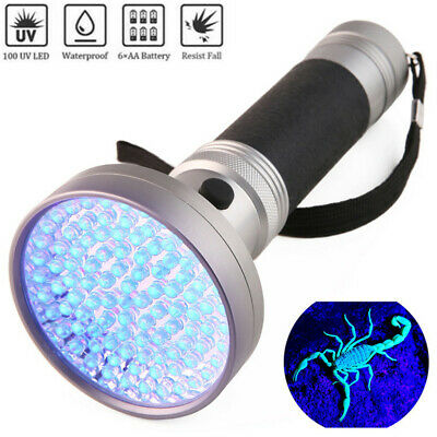 UV 100/51 LED Flashlight 365/395nm Ultra Violet Blacklight Detector Torch Light