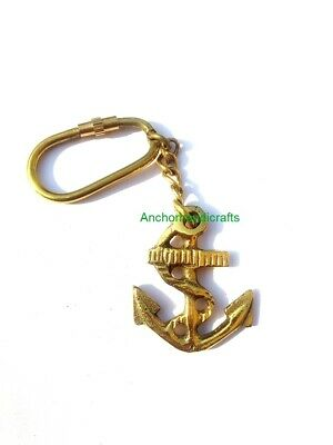 Nautical solid Brass Maritime Vintage collectible Sea Anchor Key chain Gift