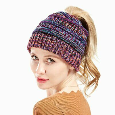 Girl Women Ponytail Beanie Skull Cap Winter Soft Stretch Cable Knit Bun Hat TS