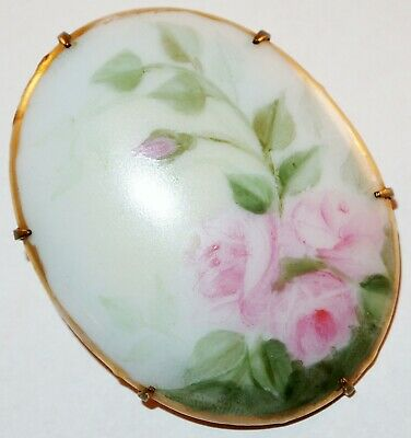 Antique Victorian Porcelain Hand Painted Pink Rose Bud Flowers Leaves Brooch Pin