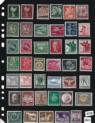 MH stamp set /  Regular Postage / WWII Germany / 41 different Third Reich stamps