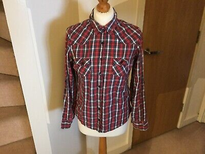 LADIES UK 12 Top Shop Red Checked Shirt Brushed Cotton. Adjustable Sleeves 5256