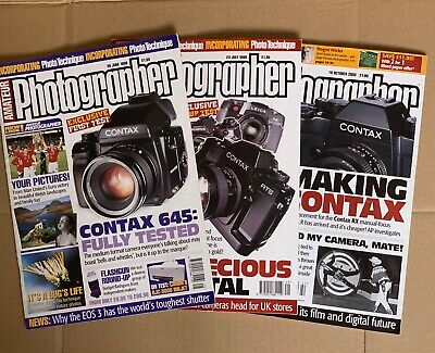 3 Amateur Photographer Magazines, 1999 & 2003 with Contax Reviews