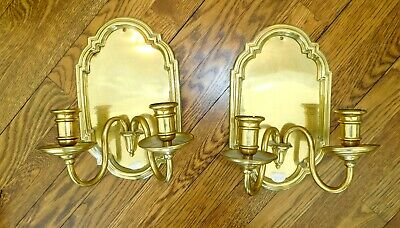 Pair of Vintage/Antique  Brass Candle Wall Sconces Nice Detail