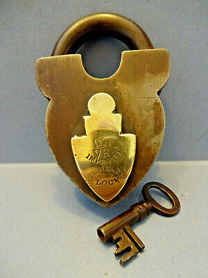 VICTORIAN STEEL & BRASS IMPROVED TUMBLER PADLOCK WITH ORIGINAL KEY.c 1880.