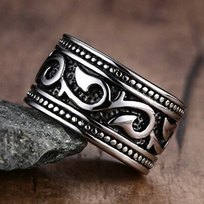 Vintage 925 Silver Men's Jewelry Band Ring Carved Wedding Party Costume Jewelry