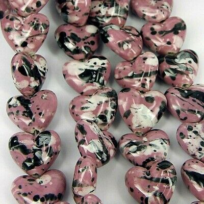 Pink cermaic Bead Hearts 21 x 17mm Jewellery Making Craft beads Pack of 6 No.33