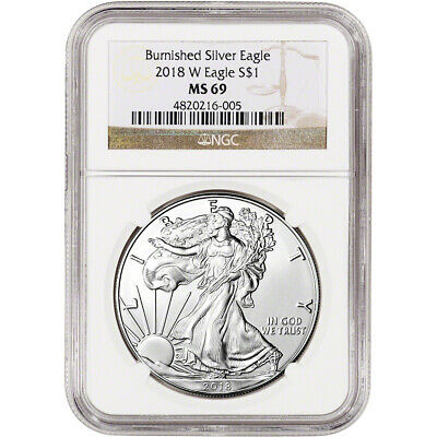 2018-W American Silver Eagle Burnished - NGC MS69