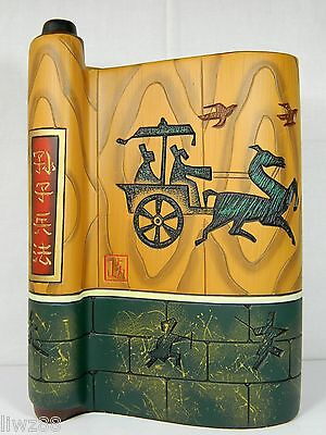 "Book-Shape Colored Pottery Sculpture Statue,""The Art of War"" & Ancient Chariot"