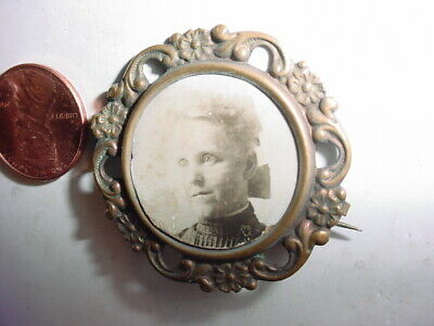 "vintage antique VICTORIAN PICTURE PIN MOURNING Brooch 1 7/8"" jewelry"