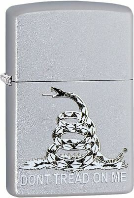 "Zippo 29841,  ""Don't Tread On Me-Gadsden Flag"" Lighter, Satin Chrome Finish"