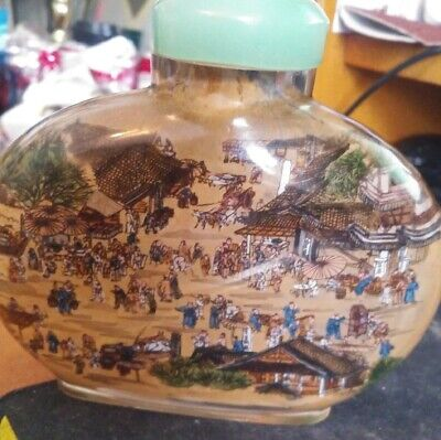 Antique Old Chinese Reverse Painted Snuff Bottle two scenes very nice