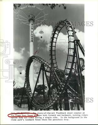 1993 Press Photo Steel roller coaster at Six Flags Over Texas - hcx17398