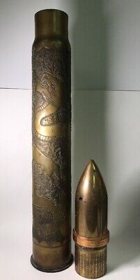 WWI WW1 United States Navy Trench Art Artillery Shell Projectile Dragons & Woman