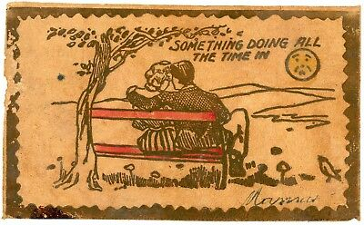 Leather Postcard - Frowning Man-in-Moon Looking at Lovers on Bench