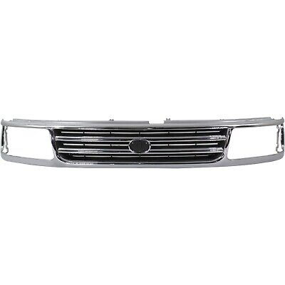 Grille For 1993-1998 Toyota T100 Chrome Shell with Black Insert Plastic