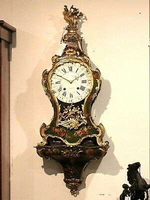 EXCEPTIONAL LARGE 18th CENTURY FRENCH WALL CARTEL CLOCK. 123cm BRONZE. ROSES