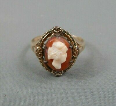 Antique Victorian 10k Solid Yellow Gold Hardstone Cameo Ring Sz 6 Signed