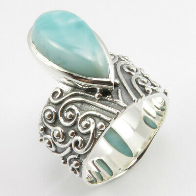 925 Solid Silver Natural LARIMAR Ancient Style Ring Sz 7 ! Veterans Day Jewelry