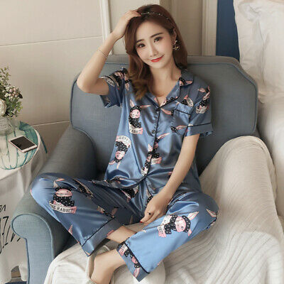 Ladies Love / Printed Silky Satin Pyjamas Set Short Sleeve Nightwear Silk PJ'S