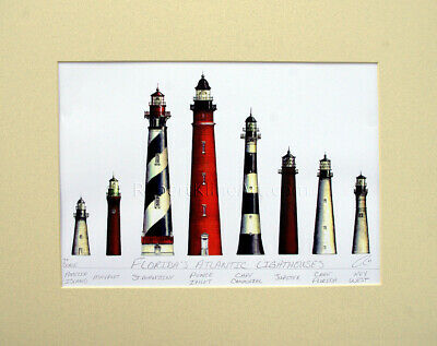 "Florida Lighthouses 11"" x 14"" Matted Print Art Birthday Gift Beach Home Decor"