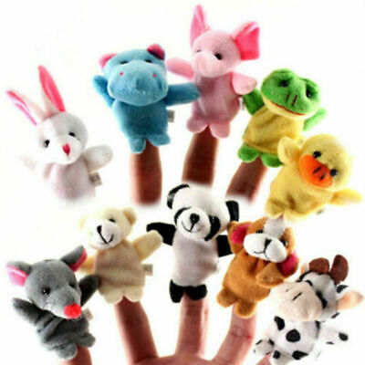 10 Pcs Family Finger Puppets Cloth Doll Baby Hand Cartoon Animal Toy For Kids