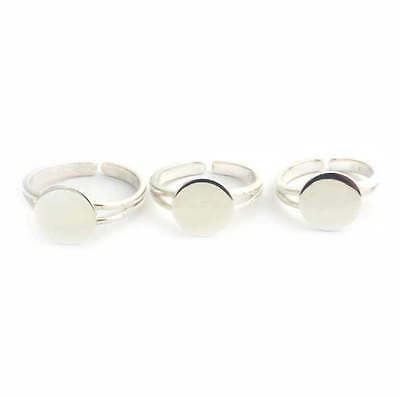 Solid Sterling Silver RING BLANK (M) pad adjustable silver ring to glue on cabs