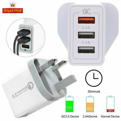 3Port Fast Qualcomm 30W Quick Charge QC 3.0 USB Hub Wall Charger Adapter UK Plug