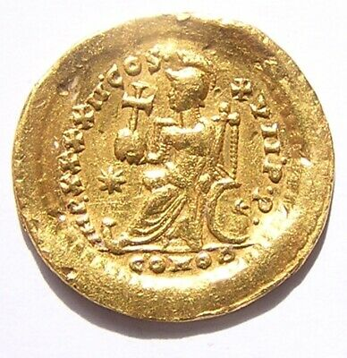 Roman Gold Solidus of Emperor Theodosius II (Tribute to Atilla the Hun) 442 A.D.