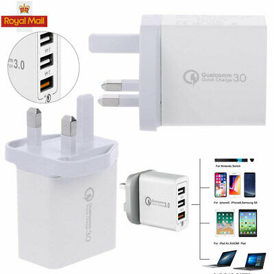 UK Plug 3Port Fast Qualcomm 30W Quick Charge QC 3.0 USB Hub Wall Charger Adapter