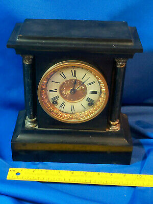 "Antique Ansonia Cast Iron Mantle Clock Chimes Black Gold Pillar 10.5""x9.5x4.5"