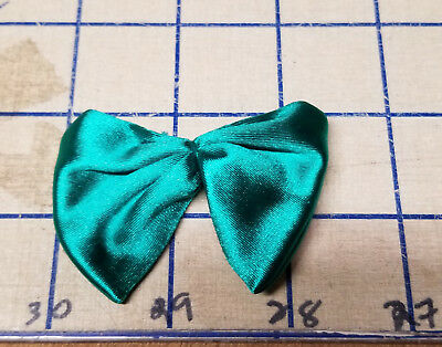 Teal Satin Bow Ties Spandex Handmade Applique Crafts Sew Patch Glue On VTG SM