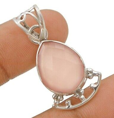 Faceted Rose Quartz 925 Solid Genuine Sterling Silver Pendant Jewelry, C16-5