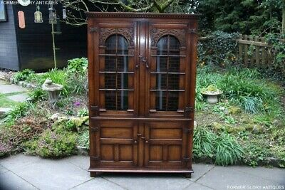 Titchmarsh And Goodwin Oak Library Bookcase Dvd Cd Display Cabinet Shelves Stand