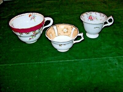 3 x Georgian Porcelain Cups- Hand Painted Floral Designs & Hand Gilded details