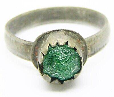 Nice Excavated 14th - 16th century medieval silver finger ring size 10 1/2