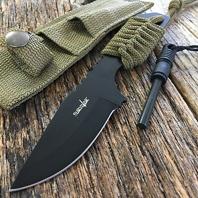 "7"" FULL TANG FIRE STARTER SURVIVAL HUNTING CAMPING KNIFE Green w/ FLINT S"