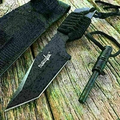"7"" FULL TANG FIRE STARTER SURVIVAL HUNTING CAMPING KNIFE Tanto Outdoor Black-SAT"