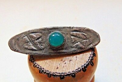 Antique Arts & Crafts Pewter & Green Stone Brooch