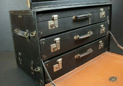 Stunning Antique Motoring Trunk with 3 Suitcases Classic Car