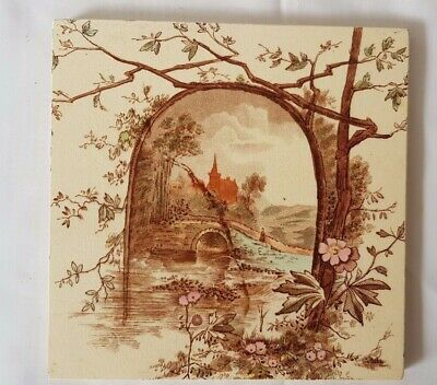 CHARMING ANTIQUE LANDSCAPE TILE. E.M.&C osborne. 3 AVAILABLE
