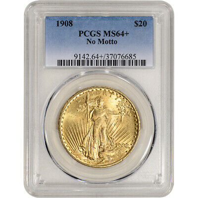 US Gold $20 Saint-Gaudens Double Eagle PCGS MS64+ 1908 No Motto