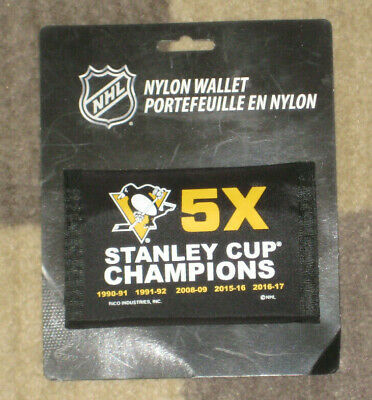 Pittsburgh Penguins 5X Stanley Cup Champions Nylon Wallet Tri Fold Velcro NEW