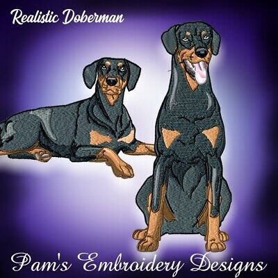 REALISTIC DOBERMAN  (revised) 10 MACHINE EMBROIDERY DESIGNS CD or USB