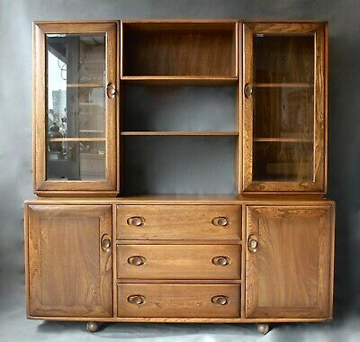 Ercol windsor display cabinet sideboard dresser solid elm 455 great condition