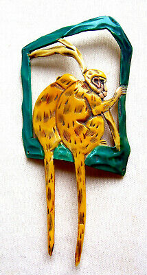 Unusual hat flash or hair comb accessory with a figural monkey